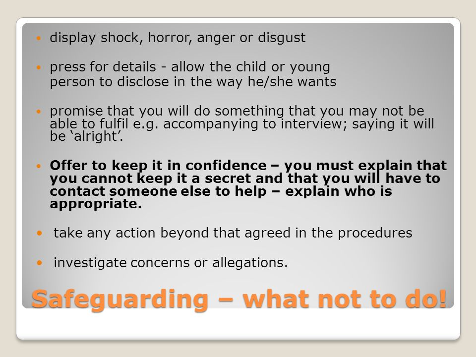 Safeguarding – what not to do!