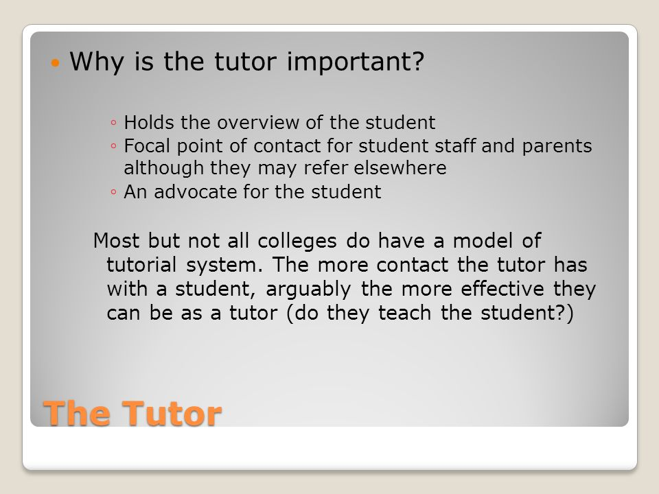 The Tutor Why is the tutor important