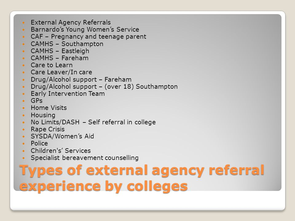 Types of external agency referral experience by colleges