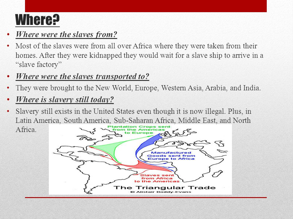 Where Where were the slaves from