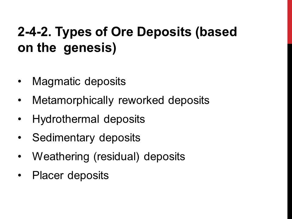 2-4-2. Types of Ore Deposits (based on the genesis)