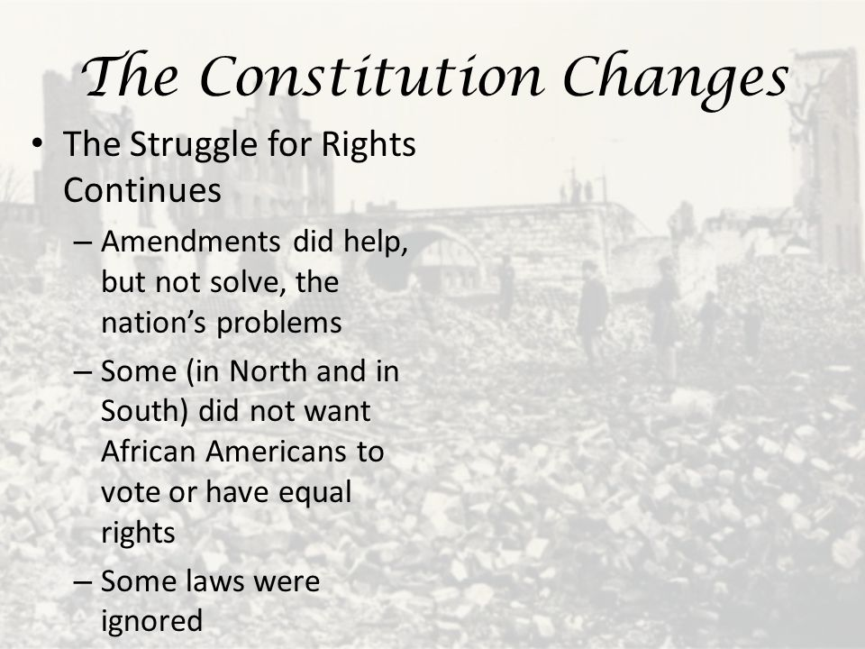The Constitution Changes