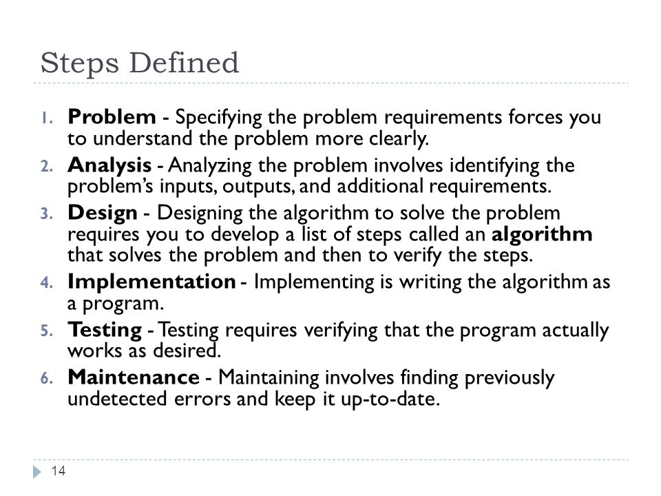 Steps Defined Problem - Specifying the problem requirements forces you to understand the problem more clearly.