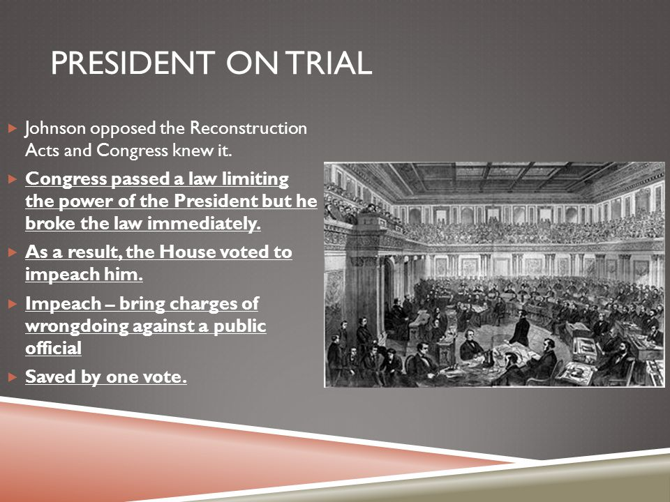President on Trial Johnson opposed the Reconstruction Acts and Congress knew it.