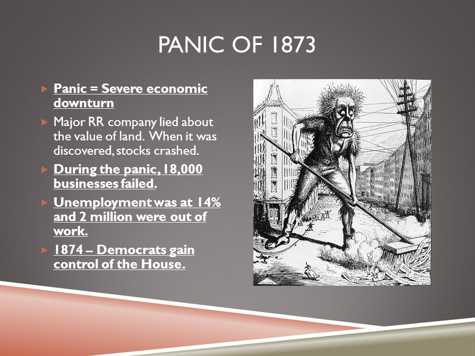 Panic of 1873 Panic = Severe economic downturn