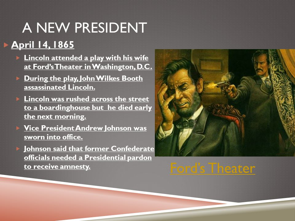 A New President Ford's Theater April 14, 1865