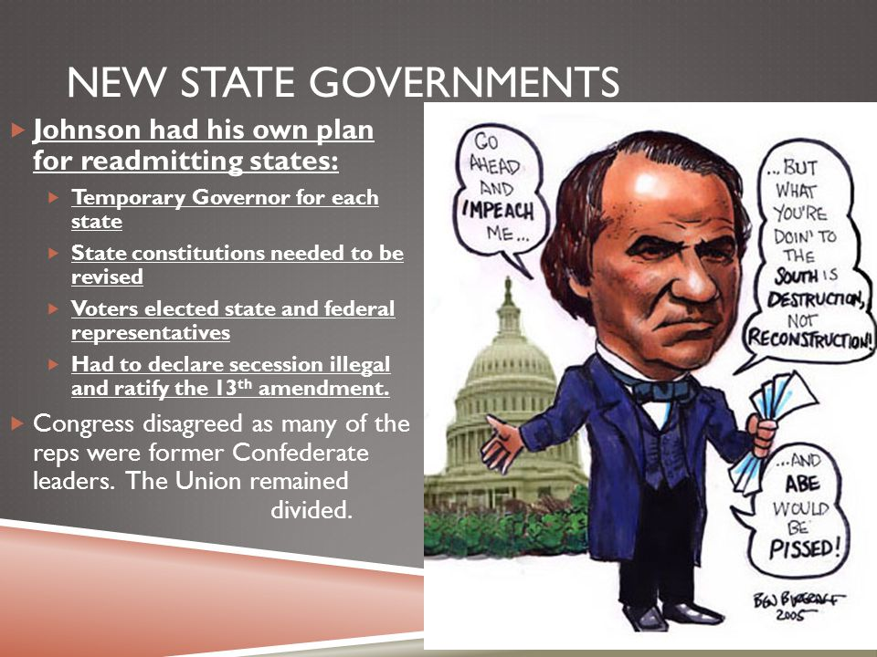 New State Governments Johnson had his own plan for readmitting states: