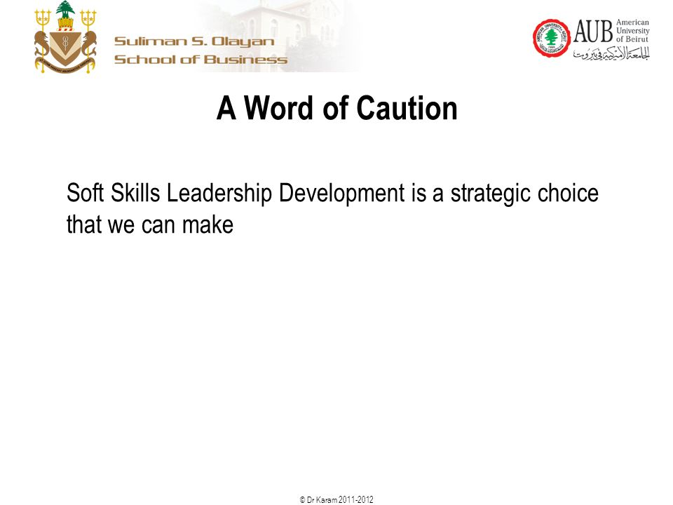 A Word of Caution Soft Skills Leadership Development is a strategic choice that we can make