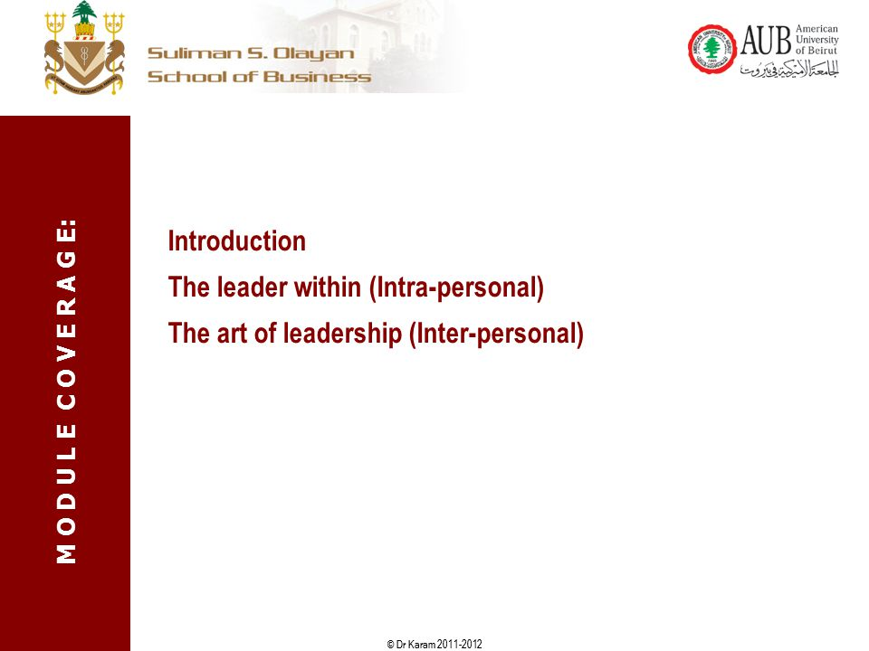 Introduction The leader within (Intra-personal) The art of leadership (Inter-personal)