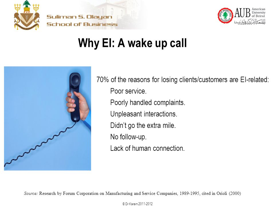 Why EI: A wake up call 70% of the reasons for losing clients/customers are EI-related: Poor service.