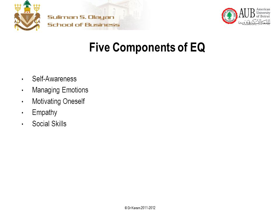 Five Components of EQ Self-Awareness Managing Emotions