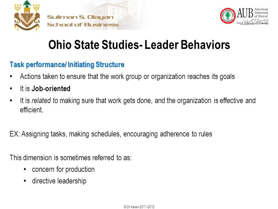 Ohio State Studies- Leader Behaviors