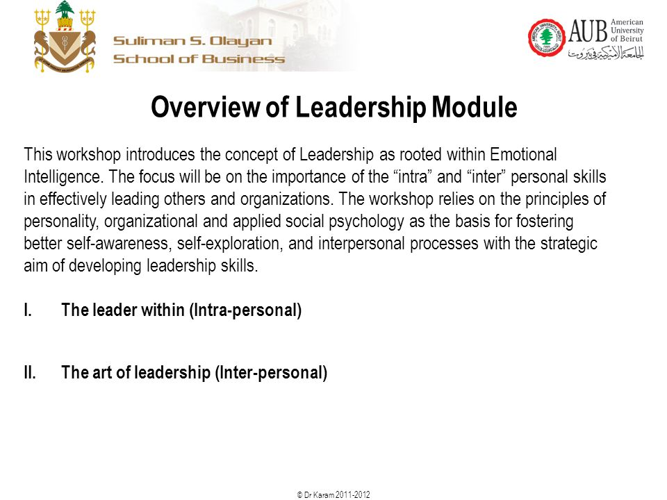 Overview of Leadership Module