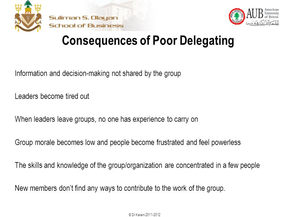 Consequences of Poor Delegating