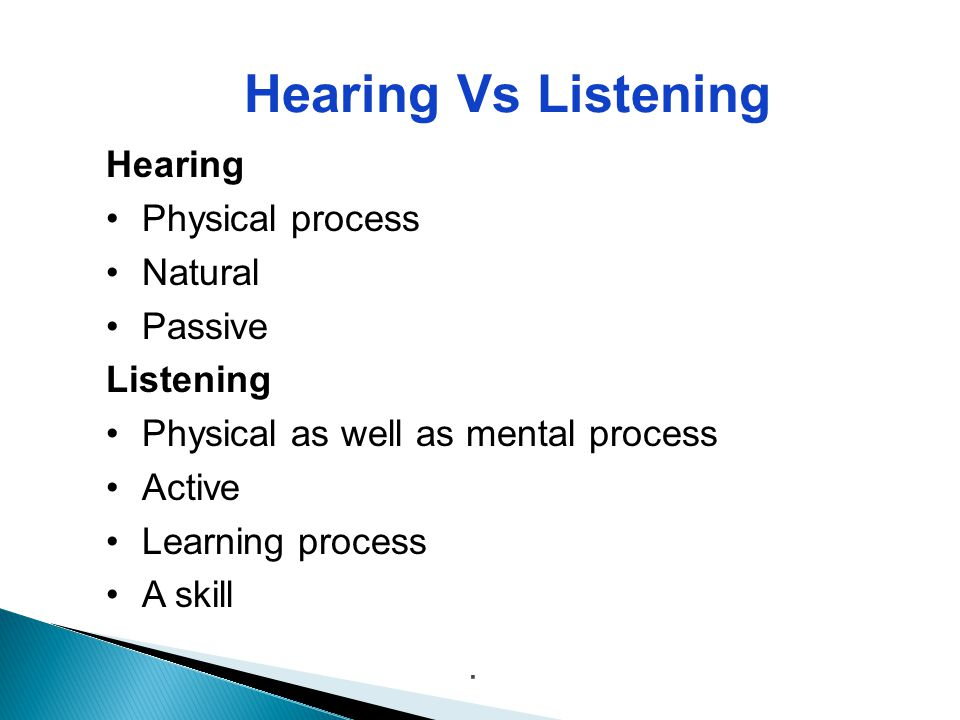 Hearing Vs Listening Hearing Physical process Natural Passive