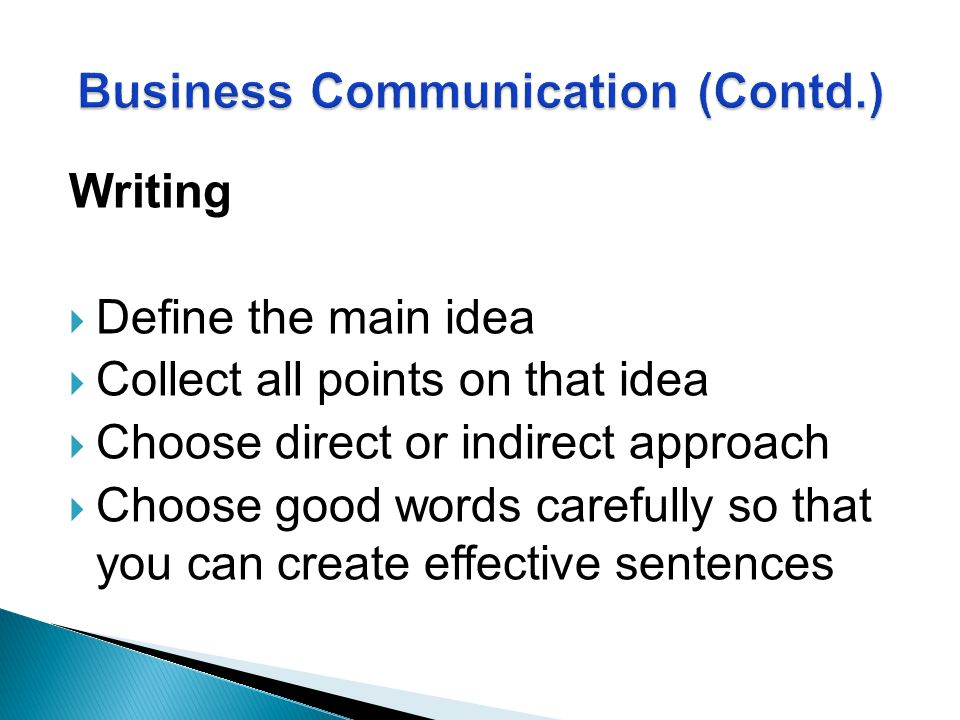 Business Communication (Contd.)