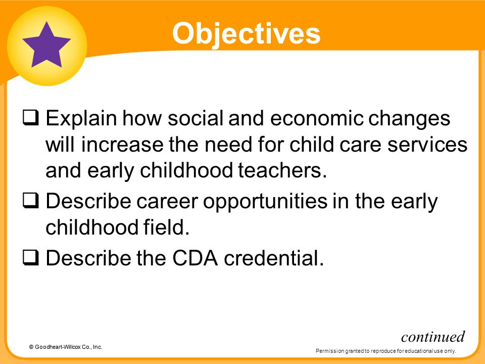 Objectives Explain how social and economic changes will increase the need for child care services and early childhood teachers.
