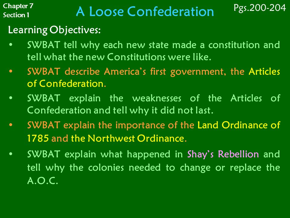 A Loose Confederation Learning Objectives: