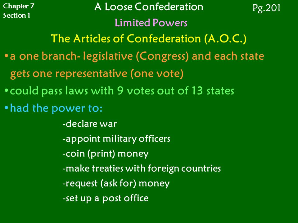 A Loose Confederation Limited Powers