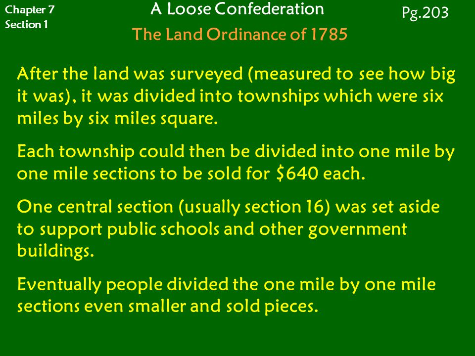 A Loose Confederation The Land Ordinance of 1785