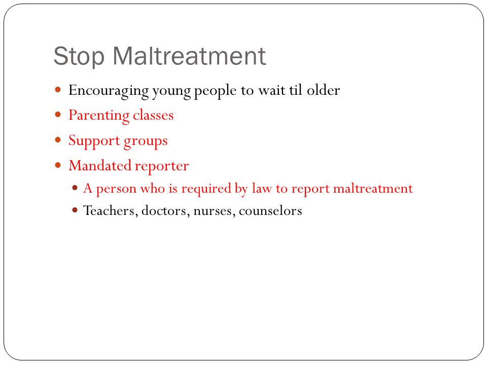 Stop Maltreatment Encouraging young people to wait til older