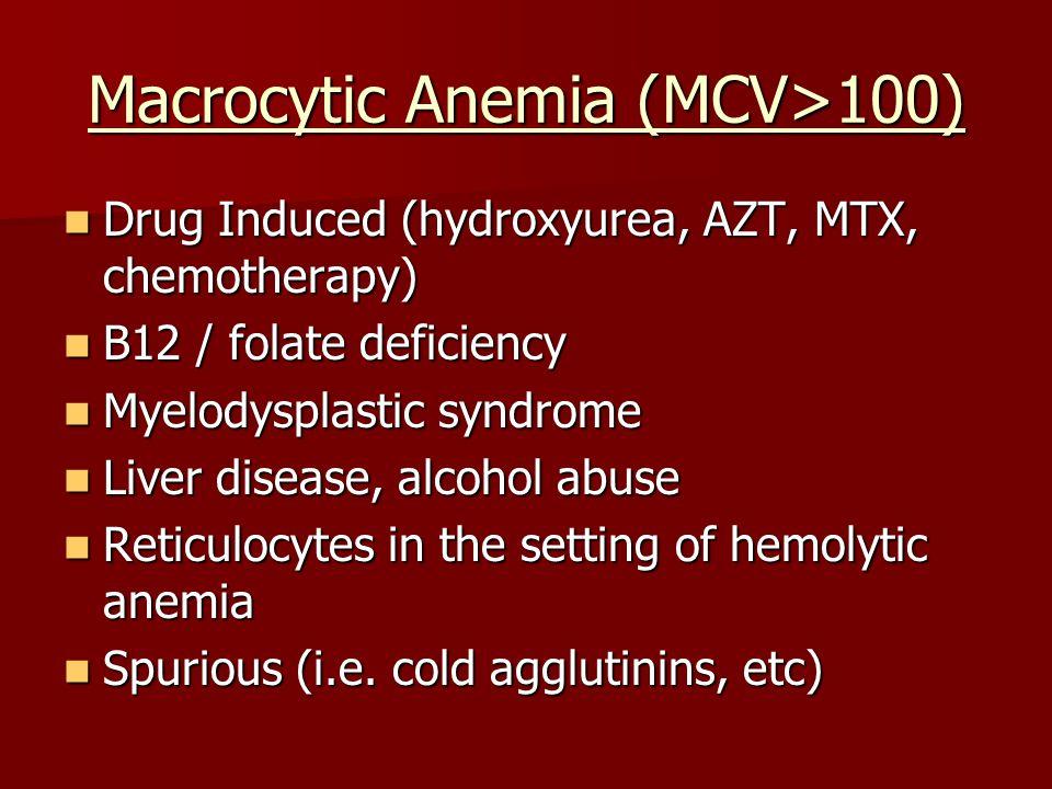 Macrocytic Anemia (MCV>100)