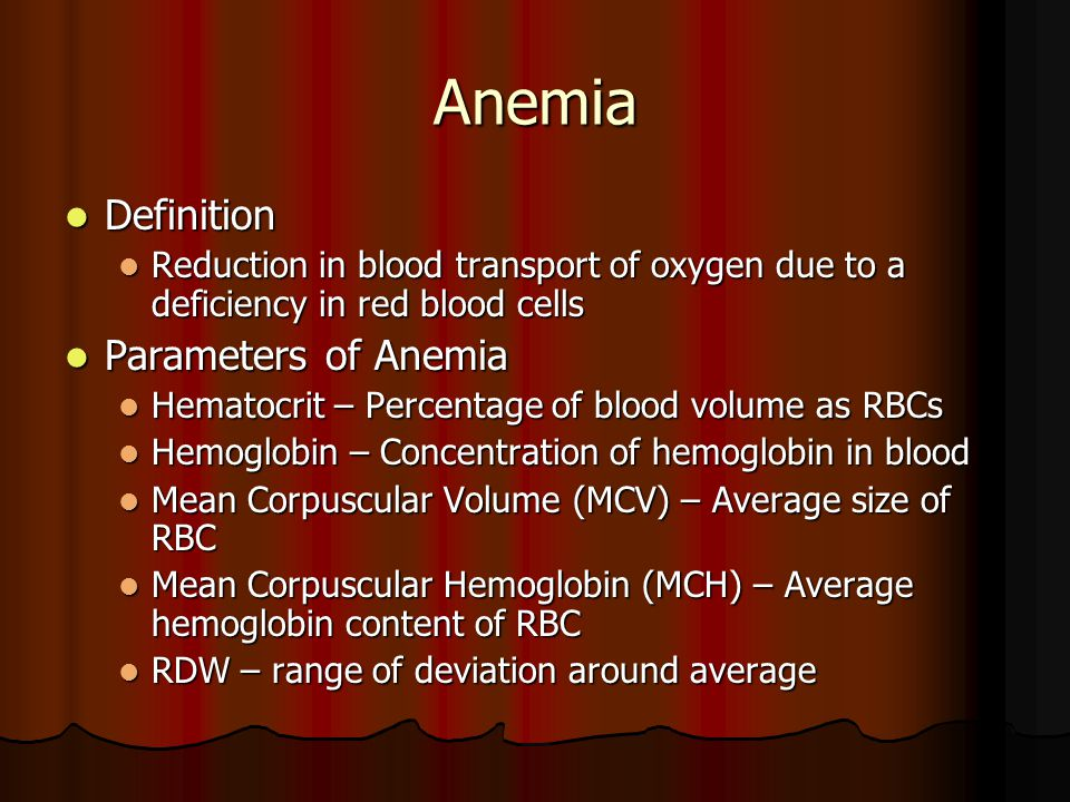 Anemia Definition Parameters of Anemia