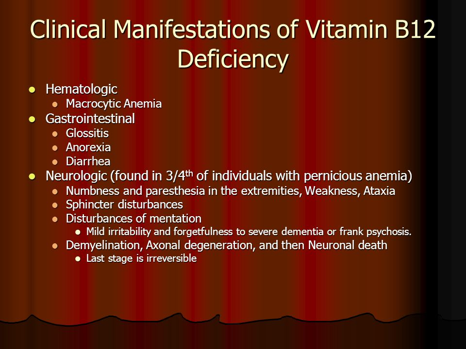 Clinical Manifestations of Vitamin B12 Deficiency