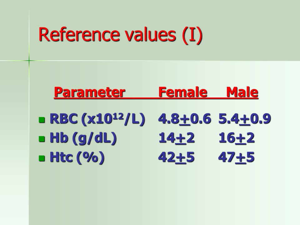 Reference values (I) Parameter Female Male