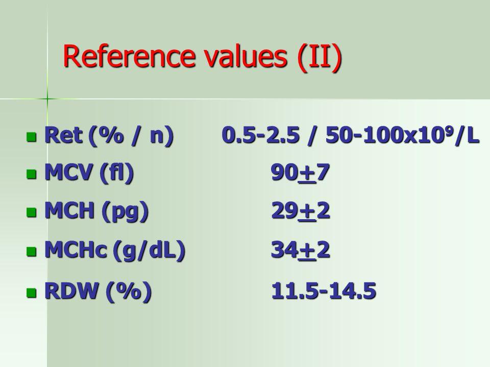 Reference values (II) Ret (% / n) 0.5-2.5 / 50-100x109/L MCV (fl) 90+7
