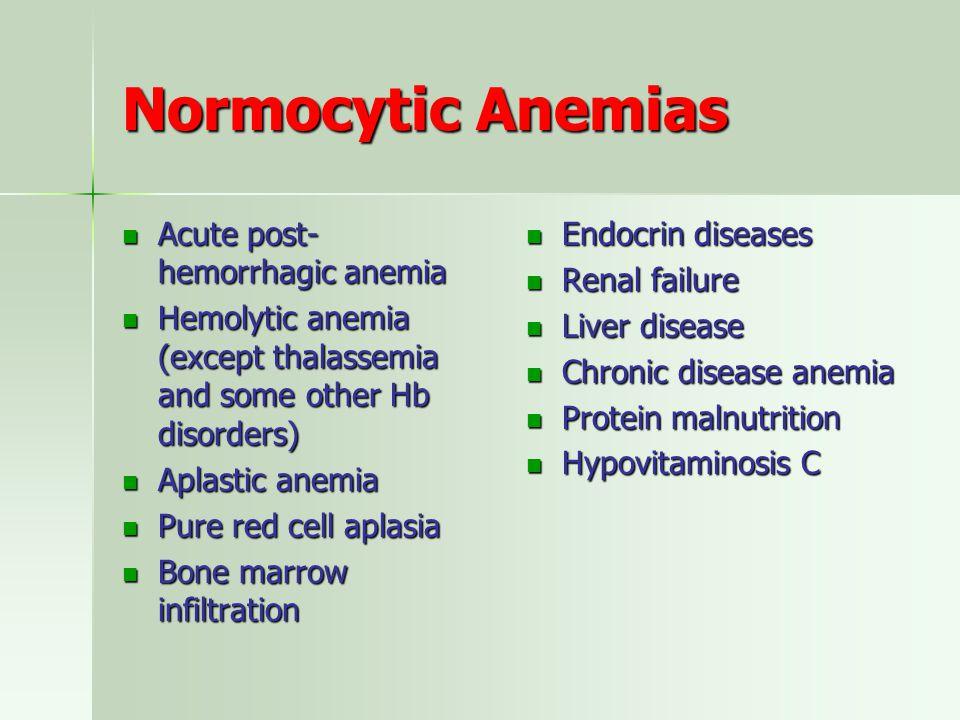 Normocytic Anemias Acute post-hemorrhagic anemia