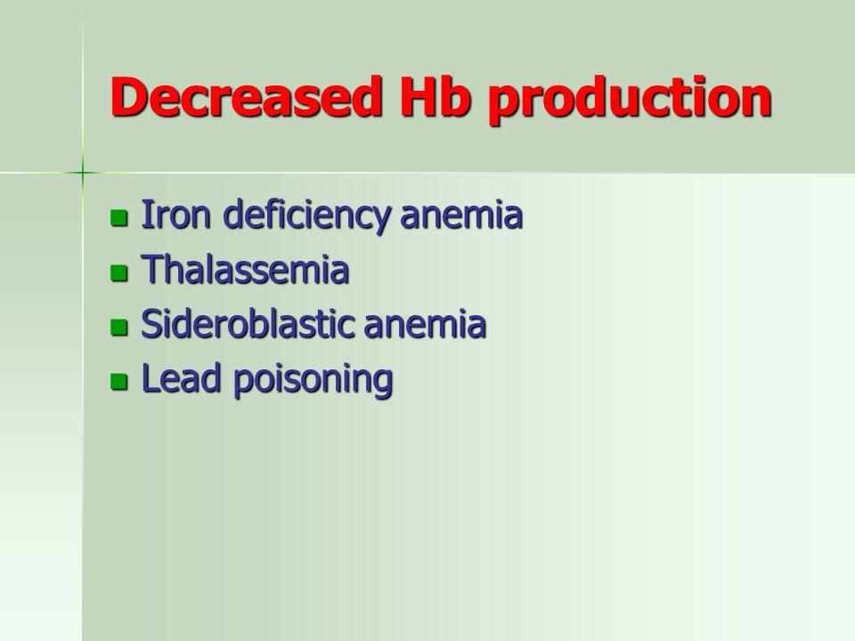 Decreased Hb production