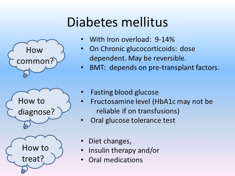 Diabetes mellitus How common How to diagnose How to treat