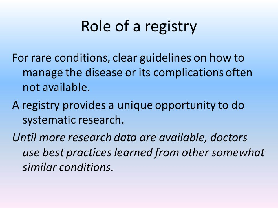 Role of a registry