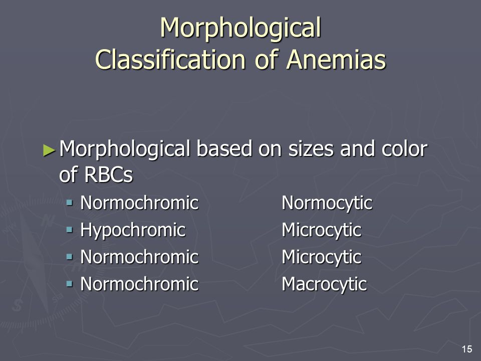 Morphological Classification of Anemias
