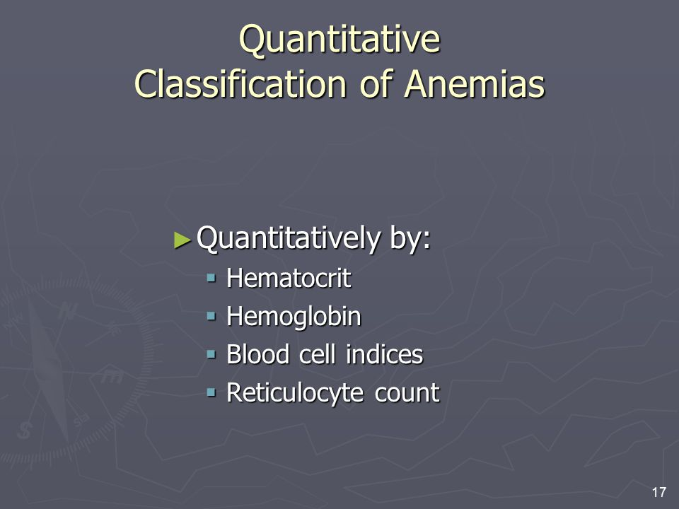 Quantitative Classification of Anemias