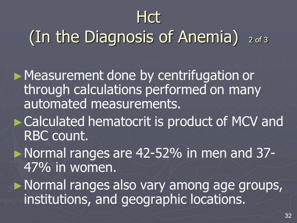Hct (In the Diagnosis of Anemia) 2 of 3