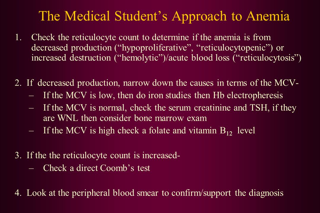 The Medical Student's Approach to Anemia