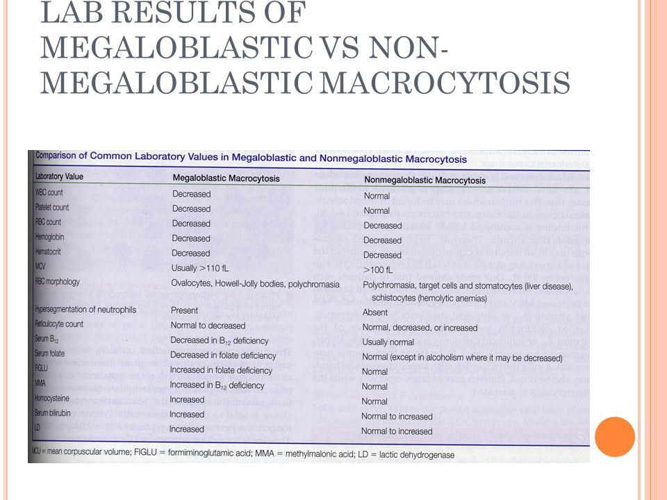 LAB RESULTS OF MEGALOBLASTIC VS NON-MEGALOBLASTIC MACROCYTOSIS
