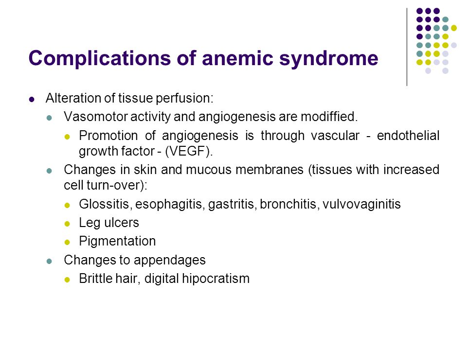 Complications of anemic syndrome