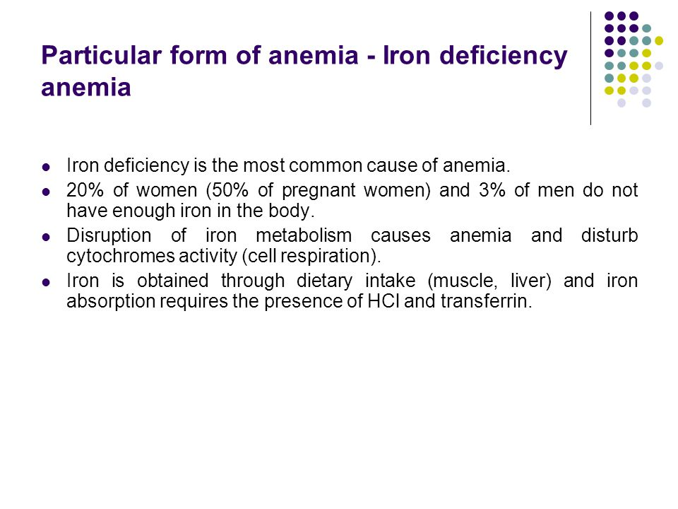 Particular form of anemia - Iron deficiency anemia