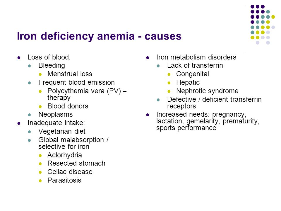Iron deficiency anemia - causes
