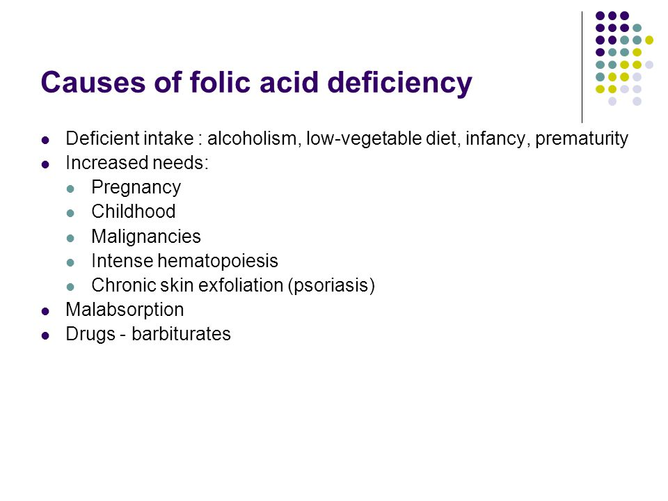 Causes of folic acid deficiency