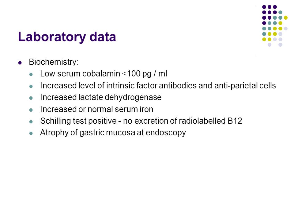 Laboratory data Biochemistry: Low serum cobalamin <100 pg / ml