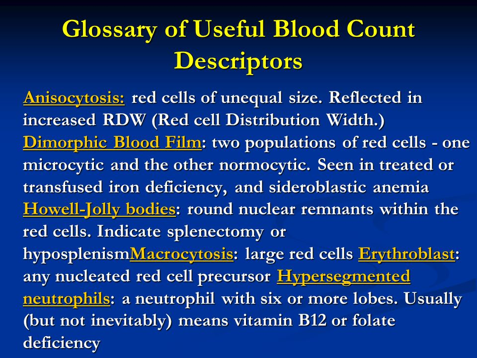 Glossary of Useful Blood Count Descriptors