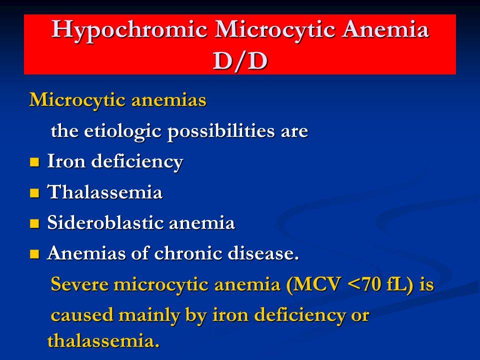 Hypochromic Microcytic Anemia D/D