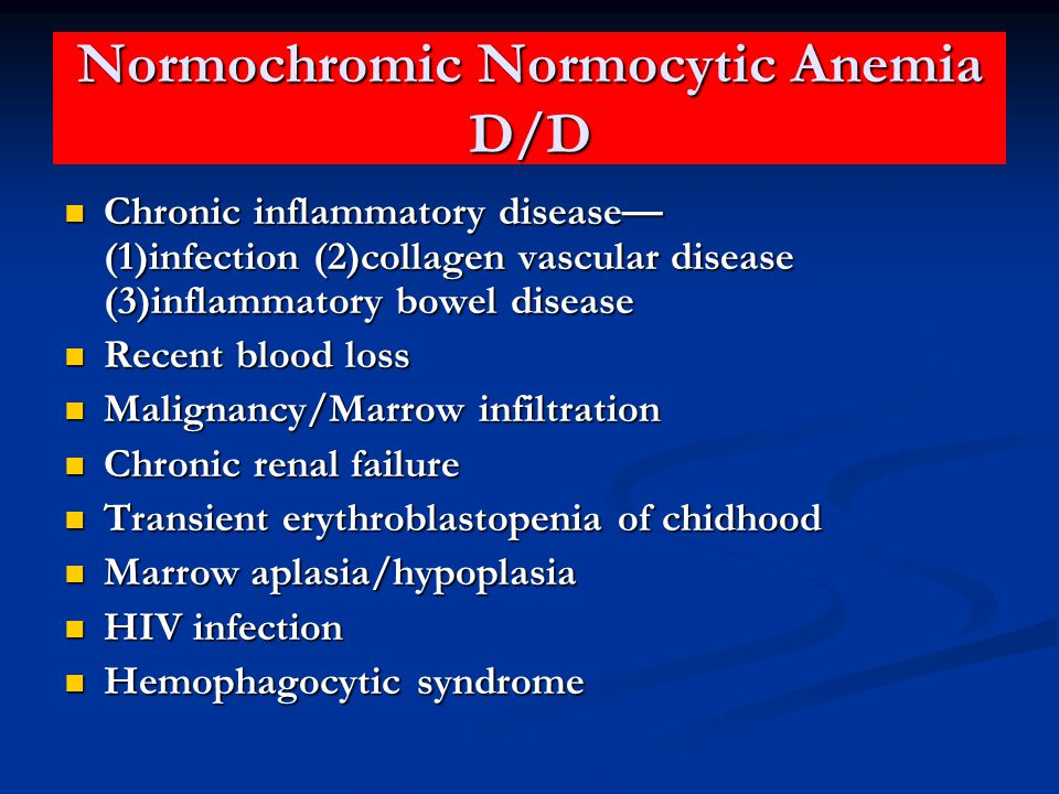 Normochromic Normocytic Anemia D/D