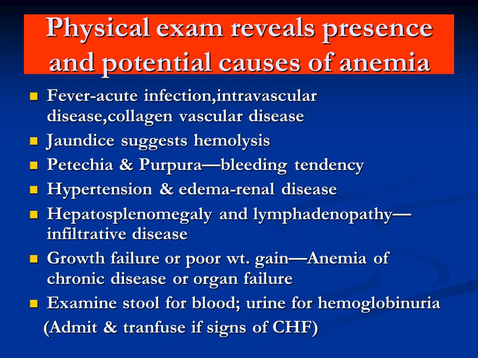 Physical exam reveals presence and potential causes of anemia