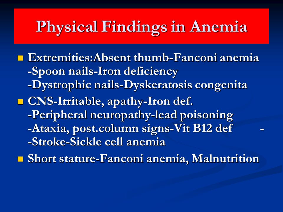 Physical Findings in Anemia