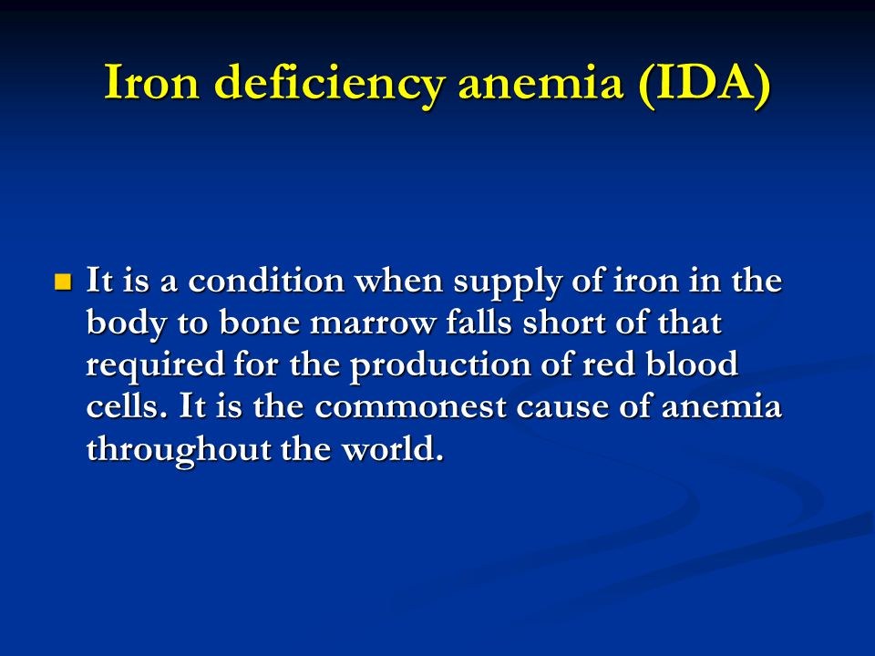 Iron deficiency anemia (IDA)